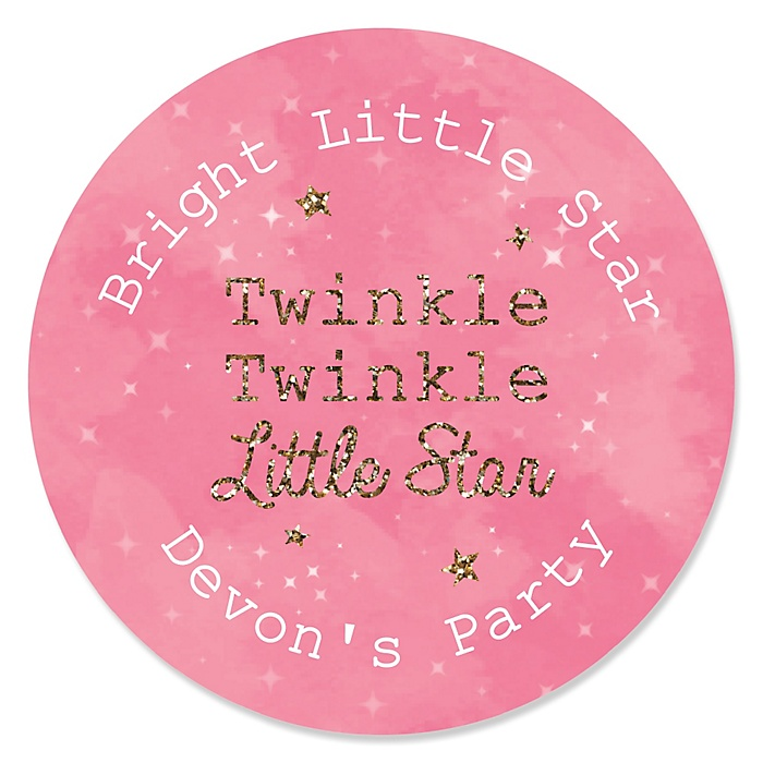 Pink Twinkle Twinkle Little Star - Personalized Party Sticker Labels - 24 ct