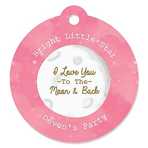 Pink Twinkle Twinkle Little Star - Personalized Party Tags - 20 ct