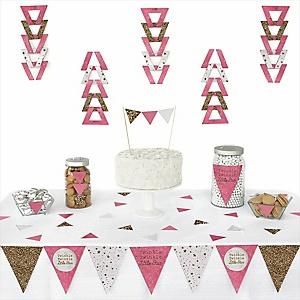 Pink Twinkle Twinkle Little Star -  Triangle Party Decoration Kit - 72 Piece