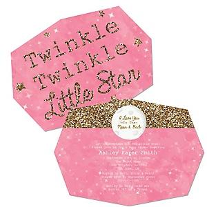Pink Twinkle Twinkle Little Star - Shaped Party Invitations - Set of 12