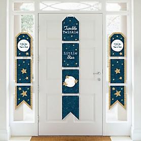 Twinkle Twinkle Little Star - Hanging Vertical Paper Door Banners - Baby Shower or Birthday Party Wall Decoration Kit - Indoor Door Decor