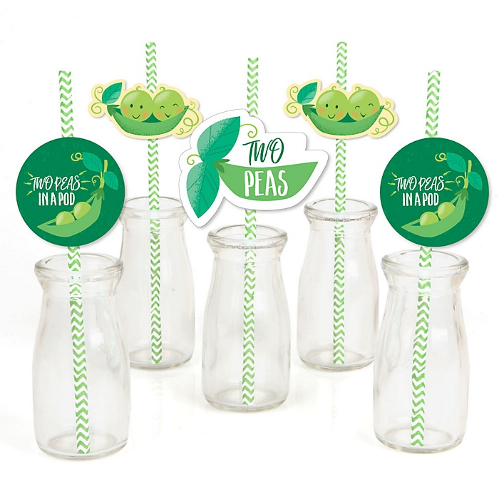 Double the Fun - Twins Two Peas In A Pod - Paper Straw Decor - Baby Shower or First Birthday Party Striped Decorative Straws - Set of 24