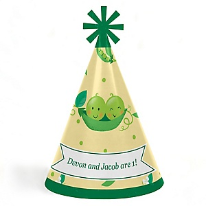 Double the Fun - Twins Two Peas In A Pod - Personalized Cone Happy First Birthday Party Hats for Kids and Adults - Set of 8 (Standard Size)
