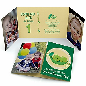 Double the Fun - Twins Two Peas In A Pod - Personalized First Birthday Party Photo Invitations - Set of 12