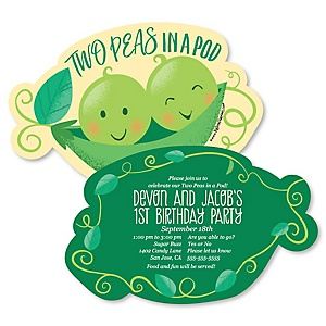 Double the Fun - Twins Two Peas In A Pod - Shaped First Birthday Party Invitations - Set of 12