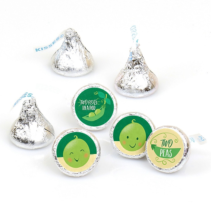 Double the Fun - Twins Two Peas In A Pod - Baby Shower or First Birthday Party Round Candy Sticker Favors - Labels Fit Hershey's Kisses  - 108 ct