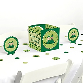 Twins Two Peas in a Pod Caucasian - Baby Shower or First Birthday Party Centerpiece and Table Decoration Kit