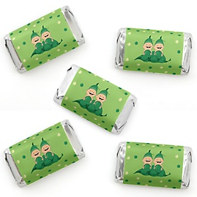 Twins Two Peas in a Pod - Mini Candy Bar Wrapper Stickers - Baby Shower or First Birthday Party Small Favors - 40 Count