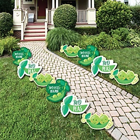 Double the Fun - Twins Two Peas In A Pod - Lawn Decorations - Outdoor Baby Shower or First Birthday Party Yard Decorations - 10 Piece