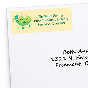 Double the Fun - Twins Two Peas In A Pod - Personalized Baby Shower or First Birthday Party Return Address Labels - 30 ct