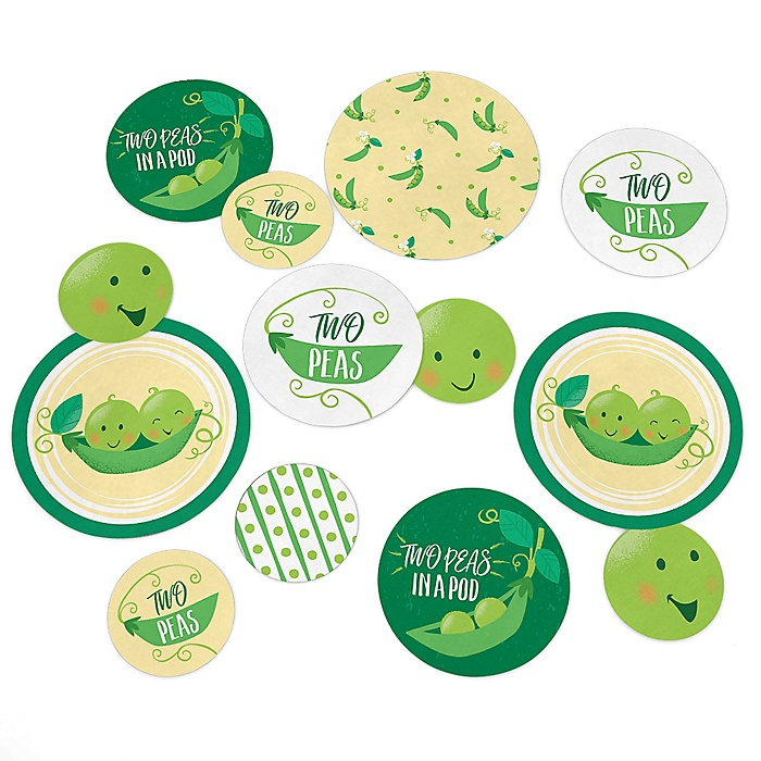 Double the Fun - Twins Two Peas In A Pod - Baby Shower or First Birthday Party Giant Circle Confetti - Party Decorations - Large Confetti 27 Count