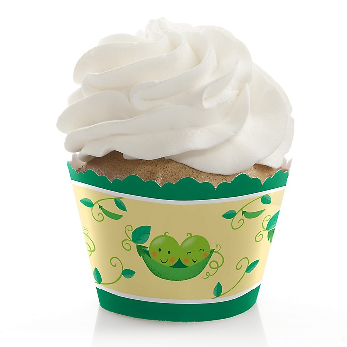 Double the Fun - Twins Two Peas In A Pod - Baby Shower or First Birthday Decorations - Party Cupcake Wrappers - Set of 12
