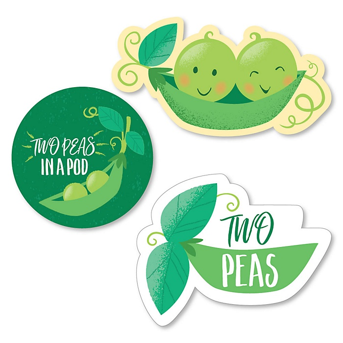 Double the Fun - Twins Two Peas In A Pod - DIY Shaped Baby Shower or First Birthday Party Cut-Outs - 24 ct
