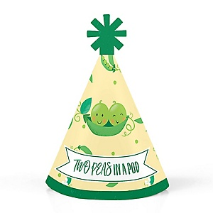 Double the Fun - Twins Two Peas In A Pod - Personalized Mini Cone Baby Shower or First Birthday Party Hats - Small Little Party Hats - Set of 10