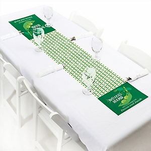 "Double the Fun - Twins Two Peas In A Pod - Personalized Petite Baby Shower or First Birthday Party Table Runner - 12"" x 60"""