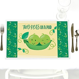 Double the Fun - Twins Two Peas In A Pod - Party Table Decorations - Baby Shower or First Birthday Party Placemats - Set of 12