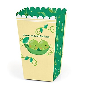 Double the Fun - Twins Two Peas In A Pod - Personalized Baby Shower or First Birthday Party Popcorn Favor Treat Boxes - Set of 12