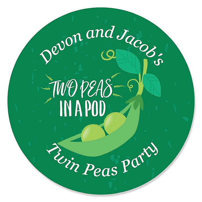 Double the Fun - Twins Two Peas In A Pod - Personalized Baby Shower or First Birthday Party Sticker Labels - 24 ct