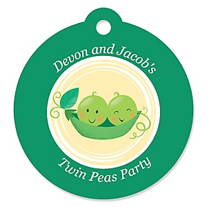 Double the Fun - Twins Two Peas In A Pod - Personalized Baby Shower or First Birthday Party Favor Gift Tags - 20 ct