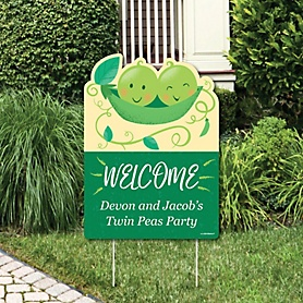 Double the Fun - Twins Two Peas In A Pod - Party Decorations - Baby Shower or First Birthday Party Personalized Welcome Yard Sign