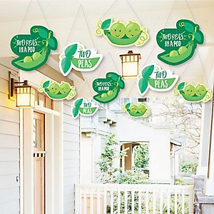 Hanging Double the Fun - Twins Two Peas In A Pod - Outdoor Baby Shower or First Birthday Party Hanging Porch & Tree Yard Decorations - 10 Pieces