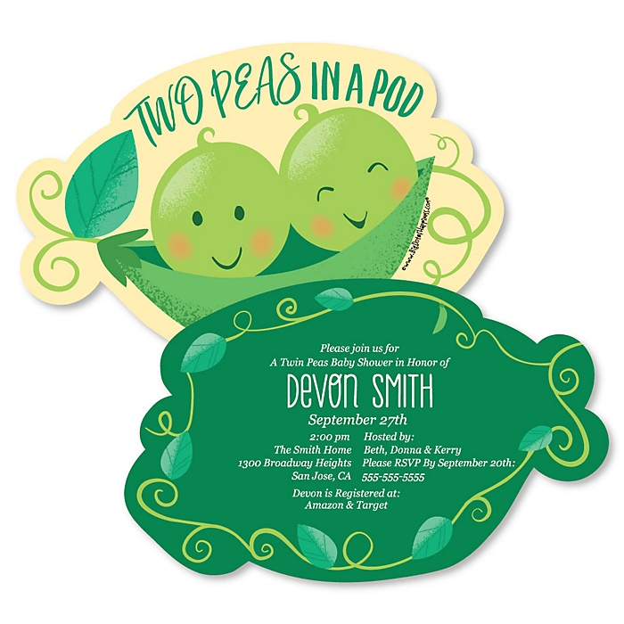 Double the Fun - Twins Two Peas In A Pod - Shaped Baby Shower or First Birthday Party Invitations - Set of 12