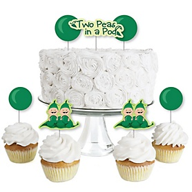 Twins Two Peas in a Pod - Dessert Cupcake Toppers - Baby Shower or First Birthday Party Clear Treat Picks - Set of 24