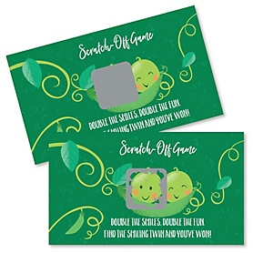 Double the Fun - Twins Two Peas In A Pod - Baby Shower or First Birthday Party Scratch Off Cards - 22 Cards