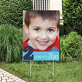 2nd Birthday Boy - Two Much Fun - Photo Yard Sign - Second Birthday Party Decorations
