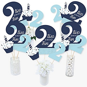 2nd Birthday Boy - Two Much Fun - Second Birthday Party Centerpiece Sticks - Table Toppers - Set of 15