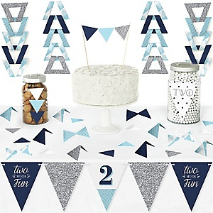 2nd Birthday Boy - Two Much Fun - DIY Pennant Banner Decorations - Second Birthday Party Triangle Kit - 99 Pieces