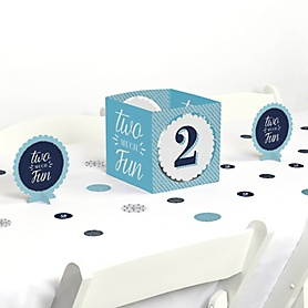 2nd Birthday Boy - Two Much Fun - Second Birthday Party Centerpiece and Table Decoration Kit