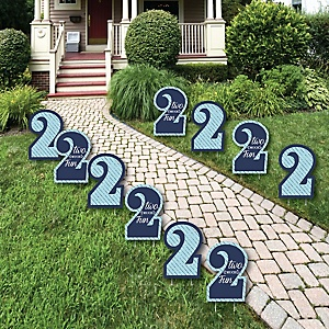 Two Much Fun - 2nd Birthday Boy Lawn Decorations - Outdoor Birthday Party Yard Decorations - 10 Piece