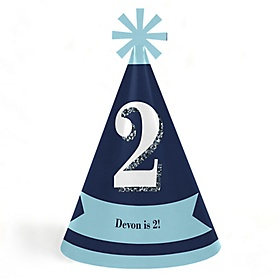 Two Much Fun - 2nd Birthday Boy - Personalized Cone Happy Second Birthday Party Hats for Kids and Adults - Set of 8 (Standard Size)