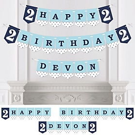 Two Much Fun - Boy - Personalized Birthday Party Bunting Banner & Decorations