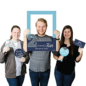 Two Much Fun - 2nd Birthday Boy - Personalized Birthday Party Selfie Photo Booth Picture Frame & Props - Printed on Sturdy Material