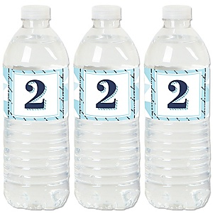 2nd Birthday Boy - Two Much Fun - Second Birthday Party Water Bottle Sticker Labels - Set of 20