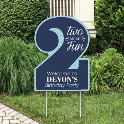Two Much Fun - 2nd Birthday Boy - Party Decorations - Birthday Party Personalized Welcome Yard Sign & Two Much Fun - Boy | BigDotOfHappiness.com