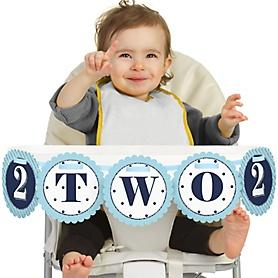 Two Much Fun - Boy - 2nd Birthday - Two - Second Birthday High Chair Banner