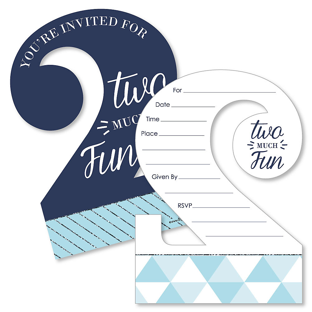 2nd Birthday Boy Too Much Fun Shaped Fill In Invitations Second Birthday Party Invitation Cards With Envelopes Set Of 12