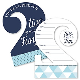 2nd Birthday Boy - Too Much Fun - Shaped Fill-In Invitations - Second Birthday Party Invitation Cards with Envelopes - Set of 12