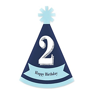 Two Much Fun - 2nd Birthday Boy - Personalized Mini Cone Second Birthday Party Hats - Small Little Party Hats - Set of 10