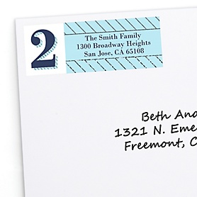 Two Much Fun - Boy - Personalized Birthday Party Return Address Labels - 30 ct