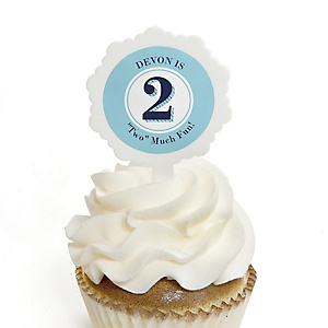 Two Much Fun - Boy - Personalized Birthday Party Cupcake Pick and Sticker Kit - 12 ct