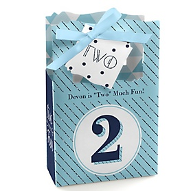 Two Much Fun - Boy - Personalized Birthday Party Favor Boxes - Set of 12