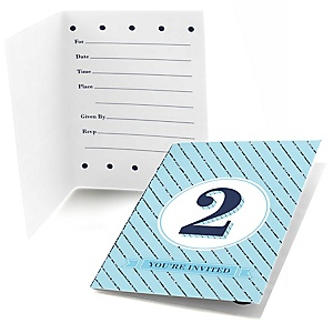 Two Much Fun - Boy - Set of 8 Fill In Birthday Party Invitations