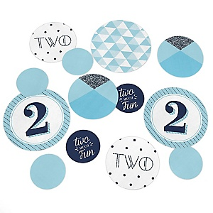 Two Much Fun - Boy - 2nd Birthday Party Giant Circle Confetti - Second Party Decorations - Large Confetti 27 Count
