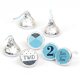 Two Much Fun - Boy - Round Candy Labels Party Favors - Fits Hershey's Kisses - 108 ct