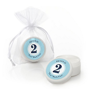 Two Much Fun - Boy - Personalized Birthday Party Lip Balm Favors - Set of 12