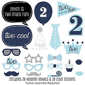 Two Much Fun - Boy - 20 Piece 2nd Birthday Party Photo Booth Props Kit